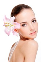 skincare of young beautiful woman face _ white background