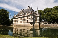 Chateau Azay-le-Rideau castle, a Renaissance castle on the Loire river, start of construction in 1510, UNESCO World Heritage site, department of Toura...