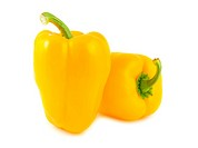 Two yellow peppers isolated on white background
