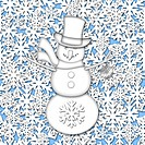 Snowman White on White Snowflakes Background Illustration