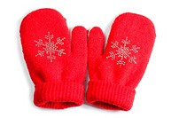 Red little baby mittens/gloves isolated on white background