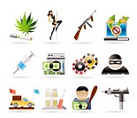 mafia and organized criminality activity icons _ vector icon set