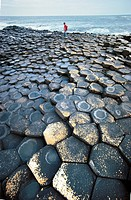 Northern Ireland - County Antrim - The Giant's Causeway (Giant's Causeway, UNESCO World Heritage List, 1986), prismatic columns of basalt.