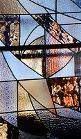 Lead glass window, La Sagrada Familia, Temple Expiatori de la Sagrada Familia, Basilica and Expiatory Church of the Holy Family, Barcelona, Catalonia,...