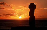 Chile, Easter Island, Rapa_Nui National Park, Ko Te Riku megalith on Tahai Ahu stone platform at sunset