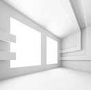 3d Illustration of White Modern Empty Room