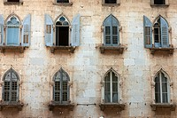 Window arches in old town, Porec, Istria, Croatia, Europe