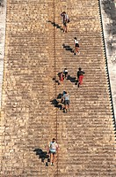 Mexico - Yucatan - Mayan archeological site of Chichen Itza (UNESCO World Heritage, 1988). Pyramid of Kukulcan, detail of staircase.