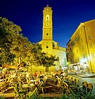 Evening cafe scene in main square of old town, Porto Vecchio, South East Corsica, Corsica, France, Europe