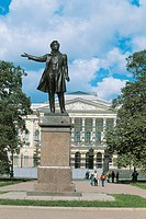 Russia - Saint Petersburg, Historic Centre (UNESCO World Heritage List, 1990). Monument to Alexander Pushkin in front of the State Russian Museum.