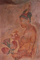 Sri Lanka - Ancient city of Sigiriya (UNESCO World Heritage List, 1982). 5th century fresco detail depicting female figures.