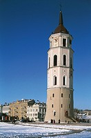 Lithuania - Vilnius. Old Town (Senamiestis). UNESCO World Heritage List 1994. Cathedral bell tower (13th, 16th and 19th century). Snow