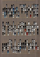 Aerial view, parking site, car and truck import, Logport industrial park in Duisburg_Rheinhausen, Ruhr area, North Rhine_Westphalia, Germany, Europe