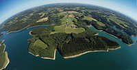 Aerial view, Grosse Dhuenntalsperre dam, drinking water reservoir, Bergisches Land region, North Rhine-Westphalia, Germany, Europe