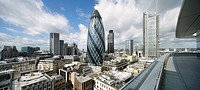 THE ST BOTOLPH BUILDING, GRIMSHAW, LONDON, 2010, VIEW OF SKYLINE FROM ROOF