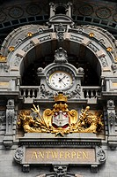 Clock in the Centraal Station central railway station, Antwerp, Flanders, Belgium, Benelux, Europe