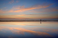 Dusk reflections, Crosby Beach, Merseyside, England, United Kingdom, Europe