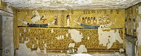 Egypt, Thebes (UNESCO World Heritage List, 1979) - Luxor - Valley of the Kings. West Valley. Tomb of Ay. Burial chamber. Western wall. Mural paintings...
