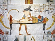 Egypt, Thebes, Luxor, Valley of the Kings, Tomb of Siptah, mural painting of Anubis before embalmed Siptah from 19th dynasty