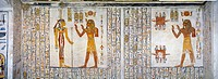 Egypt, Thebes (UNESCO World Heritage List, 1979) - Luxor. Valley of the Kings. Tomb of Ramses VI (expanded tomb of Ramses V). Vestibule. Mural paintin...
