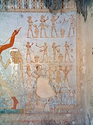 Egypt, Thebes (UNESCO World Heritage List, 1979) - Luxor. Sheikh 'Abd al-Qurna. Tomb of royal cupbearer Suemnut. Mural paintings. Votive offerings (Dy...