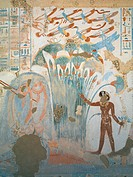 Egypt, Thebes, Luxor, Sheikh 'Abd El_Qurna, Tomb of Horemheb, detail of fresco representing man fishing in marsh and birds