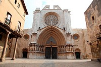 Facade of the Cathedral of Tarragona, Spain, Europe