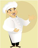 Cartoon friendly chef. Vector illustration.Image contains gradient meshes.