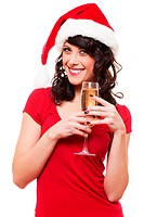 happy woman in santa hat holding glass of champagne. isolated on white background