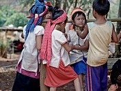 Long neck Kayan hill tribe children of Northern Thailand