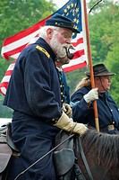 A general officer of the Union Army on the warhorse, Civil War reenactment, Bensalem, Pennsylvania, USA