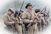 Confederate Army military unit going to attack, War reenactment, Bensalem, USA