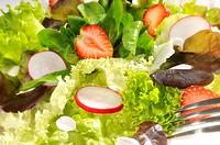 Blattsalat mit Radieschen und Erdbeeren