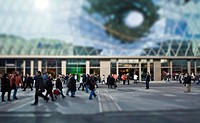 Shoppers on the Zeil, My Zeil mall on the Zeil, miniature view, tilt-shift effect, reduced depth of field, Frankfurt am Main, Hesse, Germany, Europe
