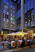 Night view, night life in Berlin, Hackesche Hoefe courtyard with cinema, Variete Chamaeleon and restaurants, Mitte district, Berlin, Germany, Europe