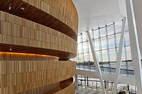 Oslo Opera House Operaen, Snøhetta, Oslo Norway, 2008, Wave wall and restaurant area in foyer, OSLO, NORWAY, Architect