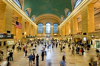 Central Station and people with motion blur, Manhattan, New York, USA, America