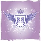 Grunge lilac retro vector shield with lions