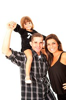 Beautiful family portrait on white background .