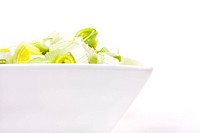 Oriental Salad of chopped leek and celery in attractive white bowl against white background.