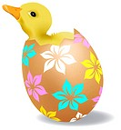 This vector picture represents a yellow chick in a decorated easter egg