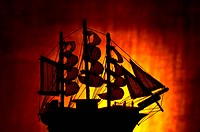 silhouette of an old sailing ship