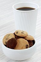 Bowl of cookies and coffee