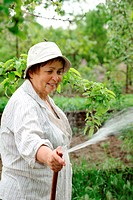Happy senior woman hoses the garden in spring