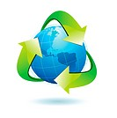 Vector illustration of blue Earth with green recycle symbol.
