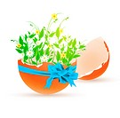 Easter decorated eggshell with bow and flowers