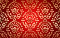 Decorative golden seamless floral ornament on a red background