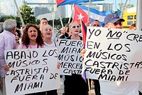 Demonstration of Cuban exiles in the United States protesting the presence of musicians living in Cuba for a visit to work in different locations in M...