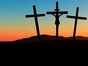 The crucifixion. A cross with Jesus Christ. A bible theme