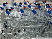 Row of supermarket shopping carts or trolleys